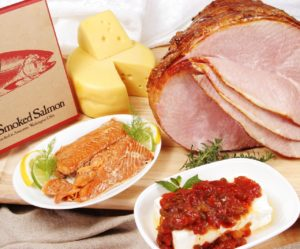 Holiday Ham, Swiss Wheel, Sockeye Salmon Appetizer and Relish Combo